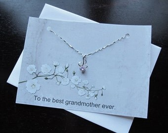 Best Grandmother Card with Light Pink Necklace