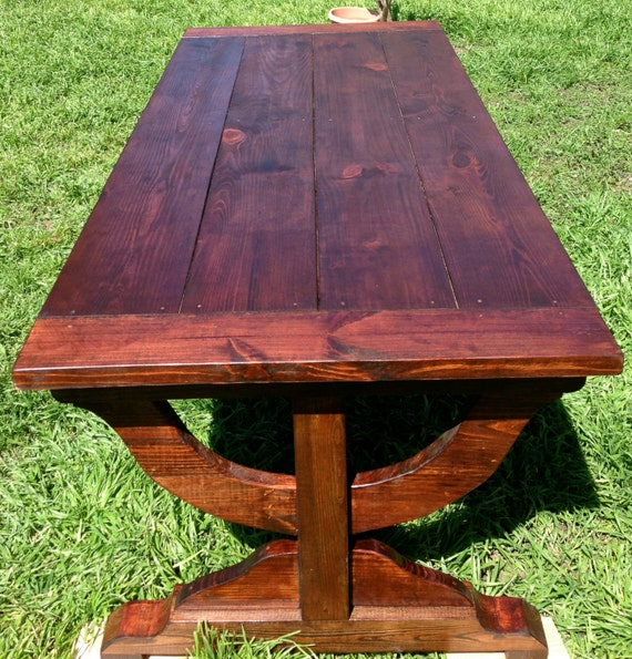Items similar to Curved Trestle Dining Table and Bench on Etsy