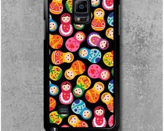 Samsung Galaxy Note 4 Case Black Russian dolls Matryoshkas