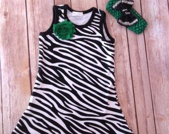 Zebra Print Dress, Boutique Zebra Dress, Baby Dress and Headband, Green Zebra Print Outfit