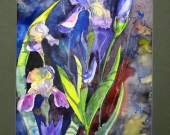 "Original watercolor ""iris"" 9""x 12"", 140 lb paper"