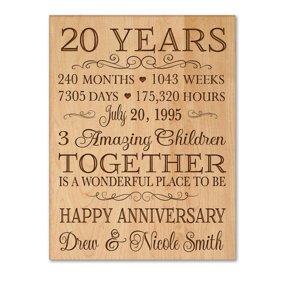 personalized 20th anniversary gift for by dayspringmilestones