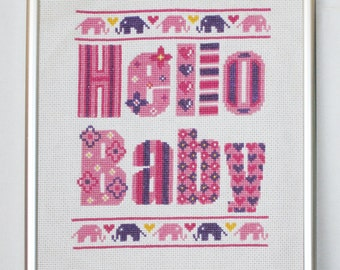Hello Baby (Girl) Cross Stitch Pattern-pink, baby girl, nursery cross stitch, patterned letters, elephants, PDF, instant download