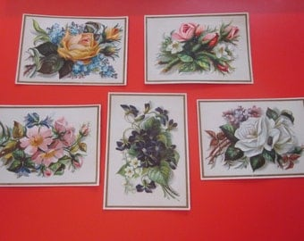 5 chromo cards with flowers