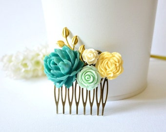 Flower Collage Hair Comb, Wedding Bridal Flower Hair Comb, Bridesmaid Hair Comb, Floral Filigree Hair Comb, Turquoise Green Hair Comb