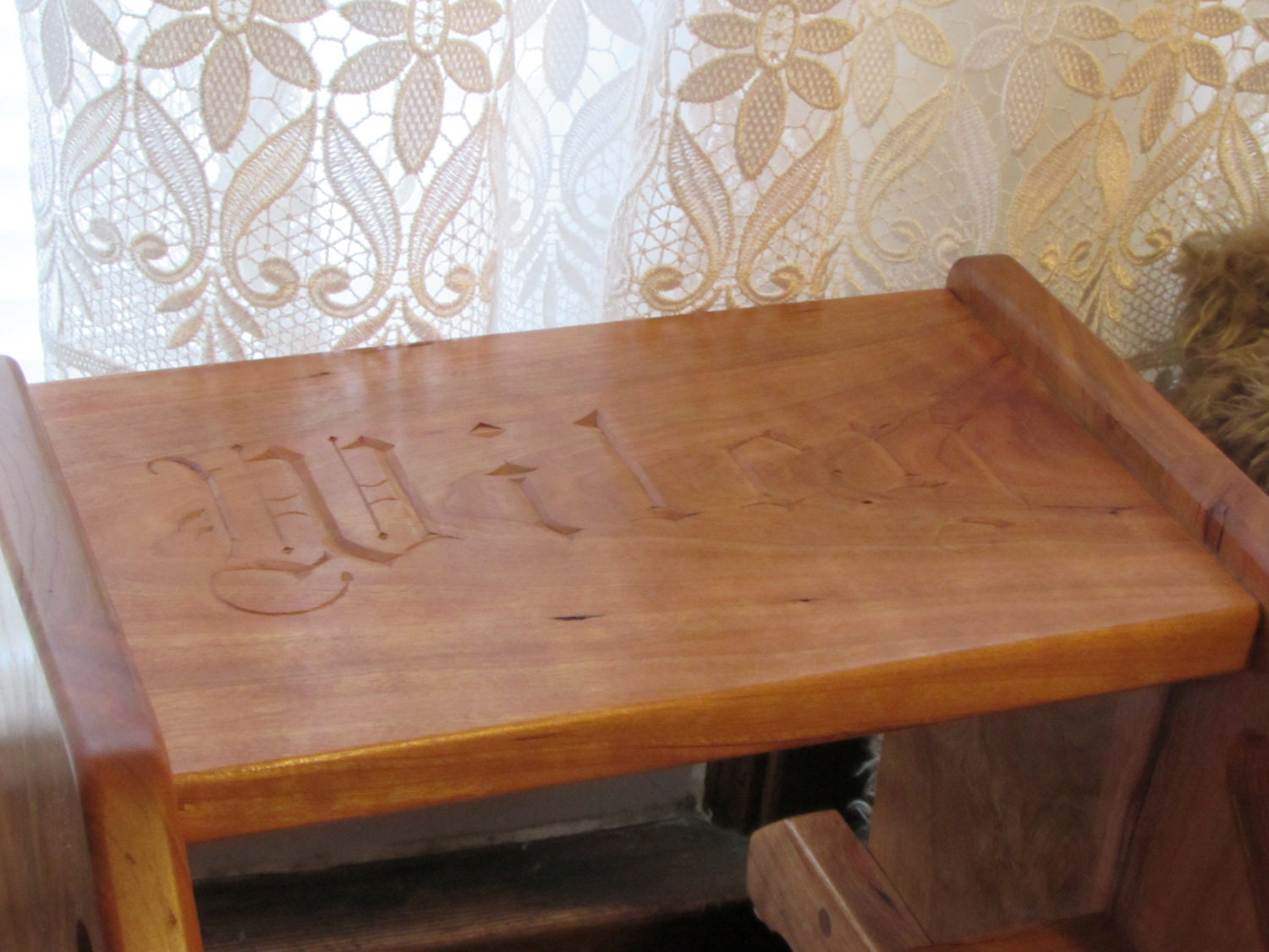 Children 39 S Step Stool Hand Carved Personalized Solid Wood