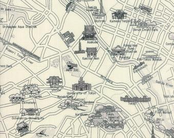 Moda Passport Fabric, Tokyo, Japan Map Fabric, Tokyo Map in Black and White