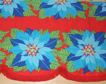 Sweet vintage retro Curtain Valance with floral pattern in turquoise and red. Made in Sweden Scandinavian.