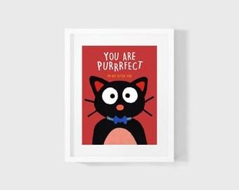 You Are Purrrfect Digital Download Black Cat Puns Digital Acrylic Painting Digital Printable WallArt 4x6 5x7 8x10 11x14 INSTANT DOWNLOAD