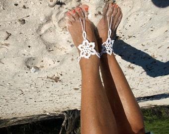 White star flower crochet barefoot sandals anklet, Handmade, Bare foot flower jewelry, Beach, Floral garden wedding, Boho Anklet