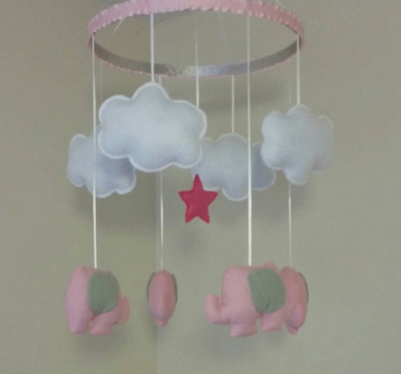 Breanne pink and grey nursery mobile crib mobile by for Baby mobile pink and grey