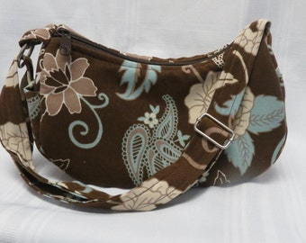 Ladies purse! Brown & Aqua Floral