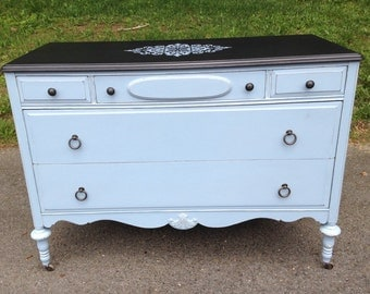 Vintage Painted Louis Blue Chalk Painted Dresser / Buffet on wheels