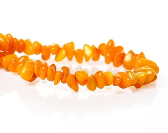 Shell Loose Beads Irregular Orange Yellow About 13mm x 6mm - 4.5mm x 4mm,80cm long