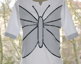White and gray tunic, butterfly pattern