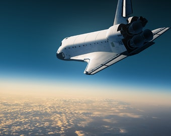 Wall Mural Space Shuttle Make A Landing, Peel And Stick Repositionable  Fabric Wallpaper For Interior Part 56