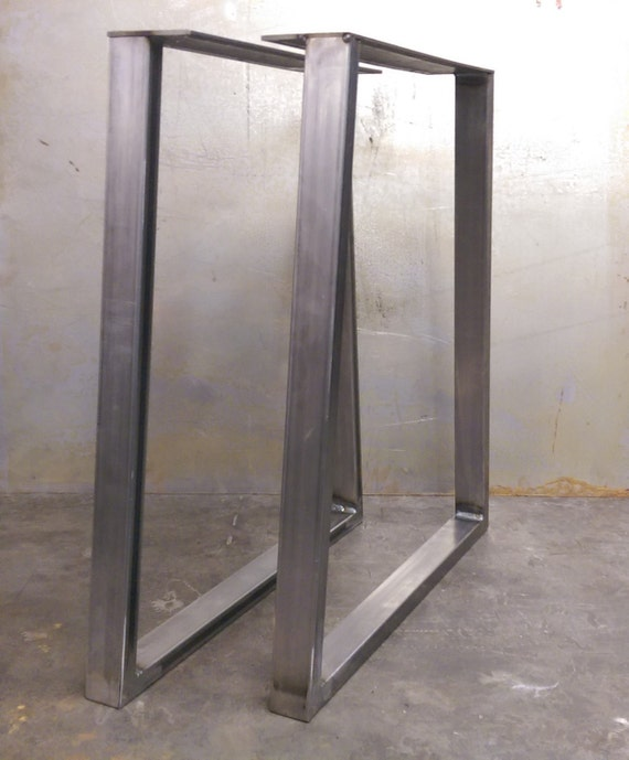 trapezoid steel table legs by steelimpression on etsy