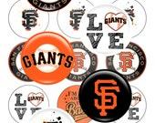 "SF GIANTS MLB - San Francisco Giants 1"" inch Bottlecap Images One Inch - Jpg Format - Instant Download 300 dpi"