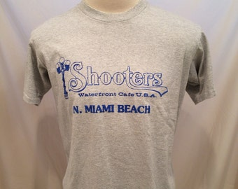 80s Shooters Waterfront Cafe tshirt, N. Miami Beach, Tennessee River Gold, Size L, Made in USA