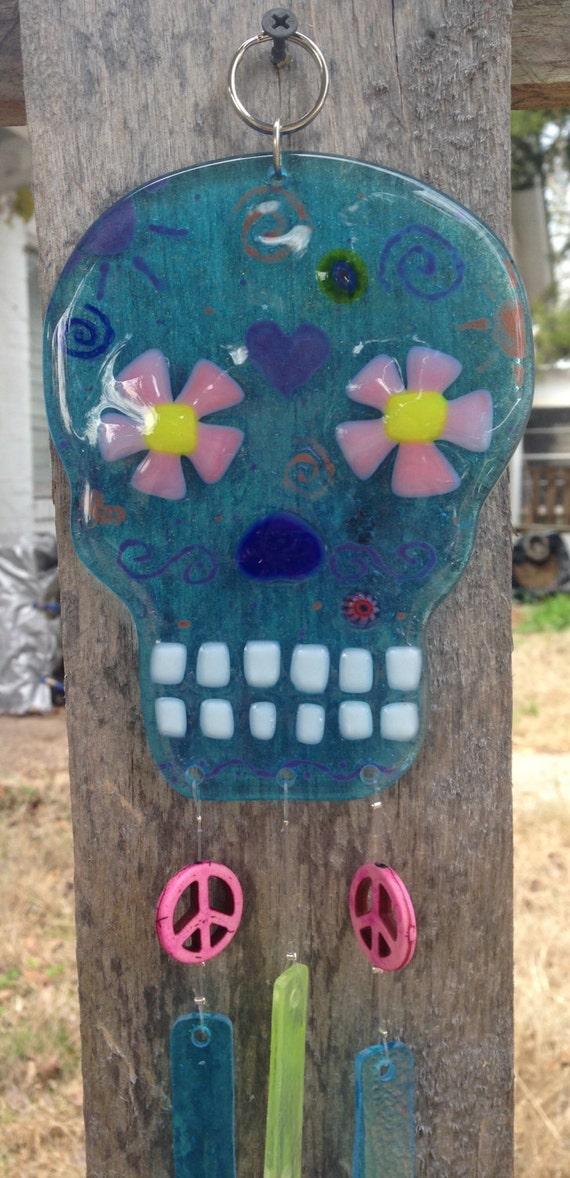 Blue Sugar Skull Sun Catcher Wind Chime