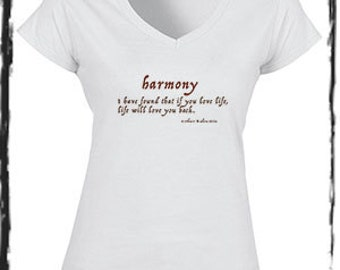 Harmony Inspirational Quote V-neck White Cotton Capped Sleeve Tee Shirt