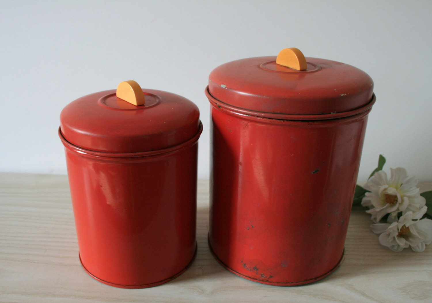 vintage set of 2 red canisters kitchen canisters old tin