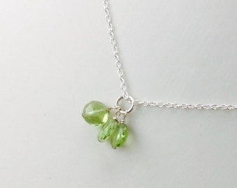 Trio Petite Peridot Pendant - August birthstone, Peridot necklace, sterling silver, gold filled,  green gemstone, natural gemstone