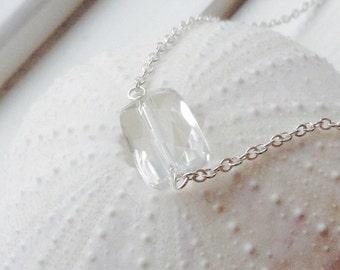 Delicate Clear Quartz Necklace -April  birthstone,  clear gemstone, quartz necklace,sterling silver,gold filled, rock quartz, clear gemstone
