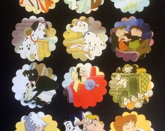 101 Dalmatians cupcake toppers/party tags recycled Disney book