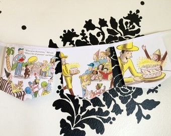 Curios George and the Birthday Surprise Banner upcycled book