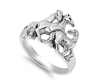 Horse Ring 14MM Sterling Siler 925