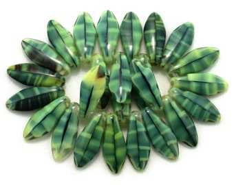 25 Yellow Green Jet Black Gray tiger's eye finish larger size 17 x 7mm daggers. Set of 12, 25 or 50.
