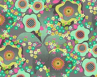 Amy Butler - Glow Peace Flowers Mist (Half metre)