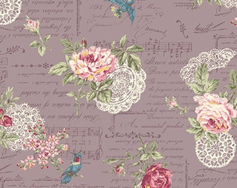 Mary Rose for Quiltgate Floral Bouquet Doilies Grey (Half metre)