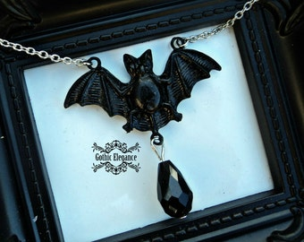 Elegant Black Drop Bat Pendant