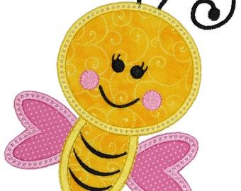 Bee Applique Embroidery Design- Digital Instant Download