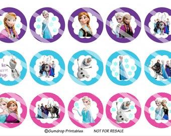"40%OFF Buy 3 Get 1 FREE ~ Frozen ~ Bottlecap Bottle Cap Images ~ Instant Download ~ 1"" Circle ~ Hairbow Centers ~ Printable Image Sheet Fr_"