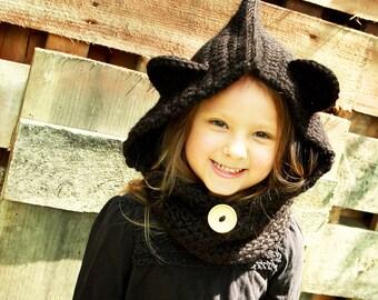 Cowl hoodie, bear cowl, bear cowl for kids, kids crochet hoodie, crochet hoodie scarf for kids, cowl hood