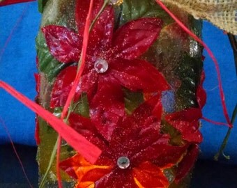 Mason Jar Lantern (choose Hawkeye themed or Poinsettia) with Light