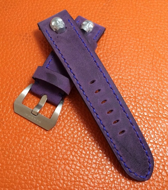 Leather Watch Band, leather watch strap, 24mm watch band, skull, Purple Watch band, 22mm buckle, watch strap for Panerai, FREE SHIPPING