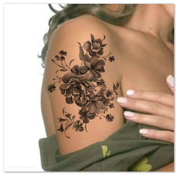 Realistic Flower Tattoos On The Right Forearm Tattoo: Temporary Tattoo Shoulder Flower Ultra Thin Realistic