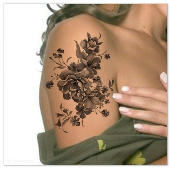 Temporary tattoo shoulder flower ultra thin realistic for Floral temporary tattoos