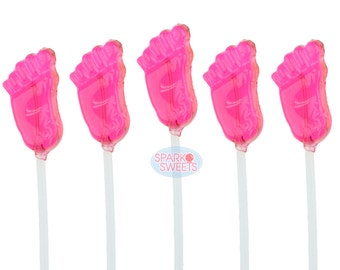 120 Handmade Pink Baby Feet Candy Long-Stem Lollipops for Girl Baby Showers Party Favors Candies