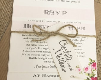1 Rustic/Vintage/Shabby Chic Style wedding invitation stationery sample - Charlotte Bundle
