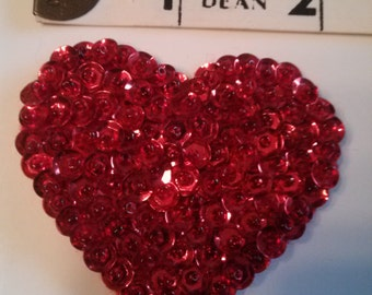 Red Heart Brooch, Heart Pin, Sequin and Beads Heart Brooch, Valentine Brooch, Heart Shaped Brooch
