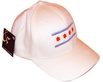 White Chicago Flag Hat