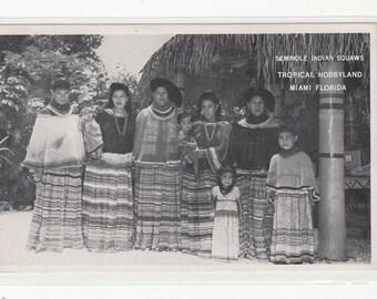 Ethnic RPPC Photographic Postcard 1940s Seminole Indian Squaws With Children,Miami Fl