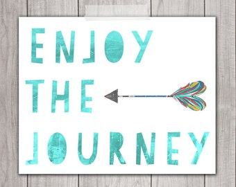 75% OFF SALE - Enjoy the Journey - 8x10 Inspirational Print, Printable Art, Red, Watercolor, Home Decor, Printable Quote, Art Print, teal