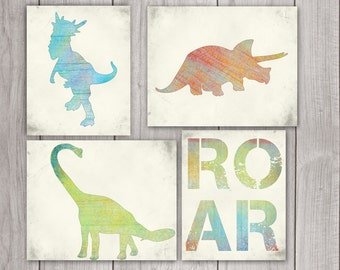 75% OFF SALE Dinosaur Art (Set of 4) - 8x10 Dinosaur Print, Dinosaur Printable, Dino Art, Dinosaur Art Print, Jurassic Printable Art