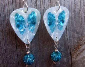 Teal Wings Guitar Pick Earrings with Teal Pave Beads
